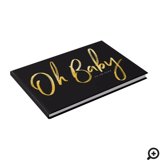 Bold Clean Modern Oh Baby Typographic Baby Shower Guest Book