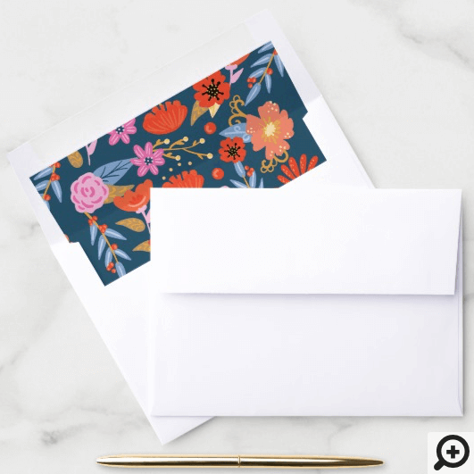 Bold Floral Flowers Folk Art Pattern Envelope Liner