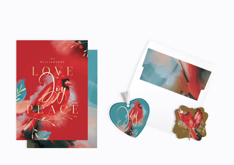 Red Cardinal Modern Abstract Watercolor Holiday Christmas Collection