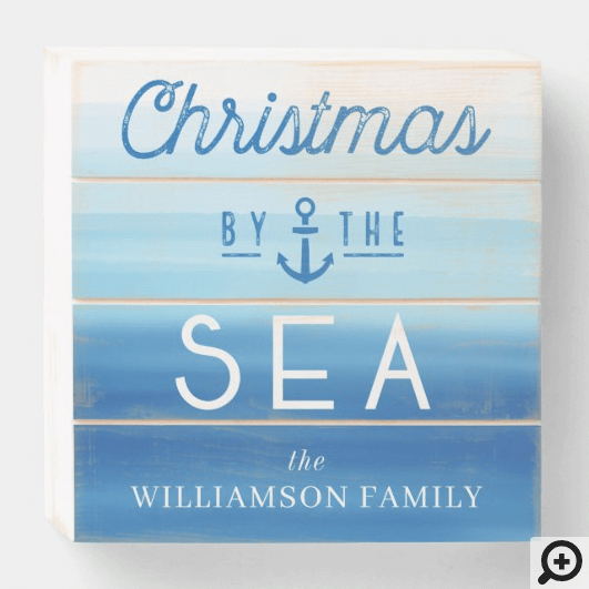 Christmas By The Sea Coast Blue Ombre Typographic Wooden Box Sign