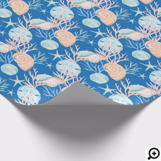 Coastal Blue Christmas Watercolor Seashell Pattern Wrapping Paper