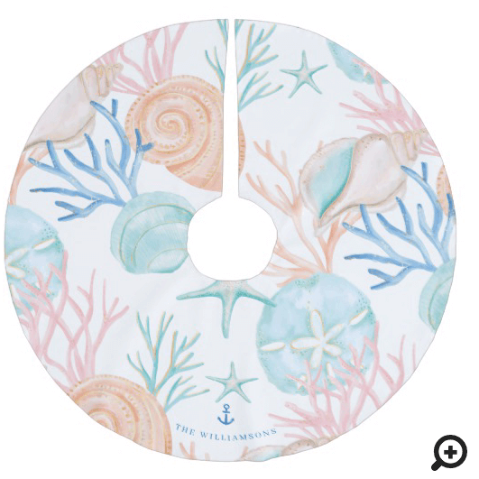 Coastal Christmas Watercolor Seashell Pattern Brushed Polyester Tree Skirt