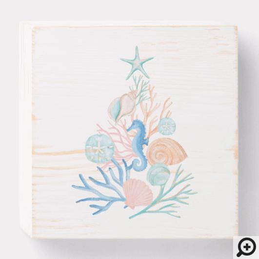 Coastal Ocean Beach Seashell Christmas Tree Wooden Box Sign
