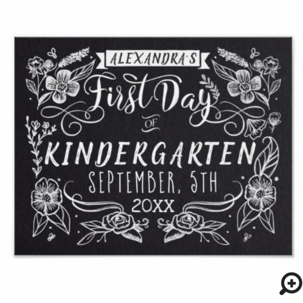 First Day of School Black Chalkboard Art Sign