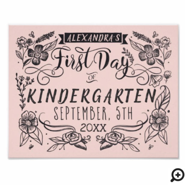 First Day of School Chalkboard Art Blush Pink Sign