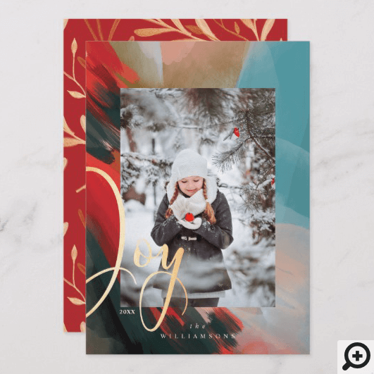 Joy Abstract Watercolor Paint Brush Stroke Photo Holiday Card