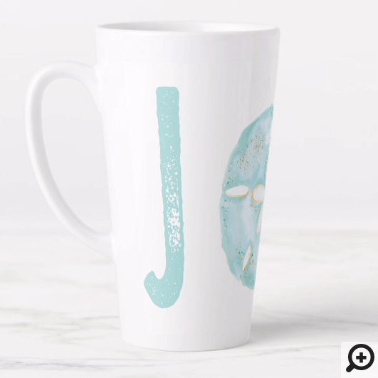 Joy Coastal Ocean Teal Watercolor Sand Dollar Latte Mug