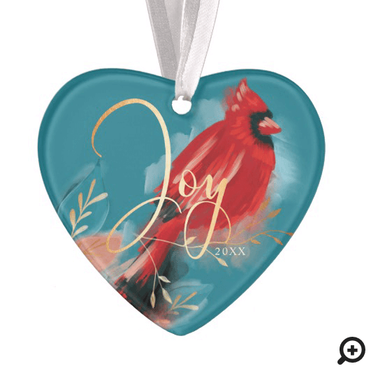 Joy Red Cardinal Watercolor Christmas Bird Photo Ornament