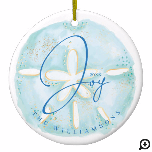 Joy Watercolor Ocean Sand Dollar Seashell Photo Ceramic Ornament