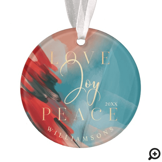 Love Joy & Peace Abstract Paint Brush Stroke Photo Ornament