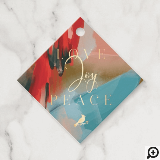 Love Joy & Peace Red Cardinal Abstract Watercolor Favor Tags