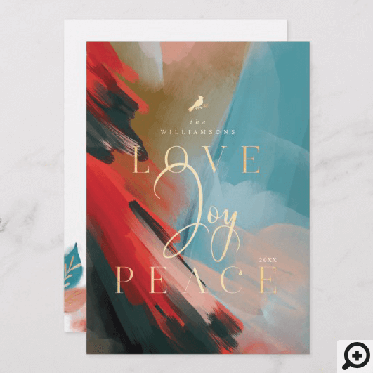 Love Joy & Peace Red Cardinal Abstract Watercolor Holiday Card