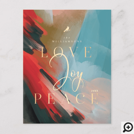Love Joy & Peace Red Cardinal Abstract Watercolor Invitation Postcard