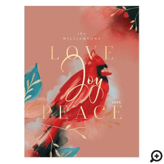 Love Joy & Peace Red Cardinal Watercolor Blush Postcard