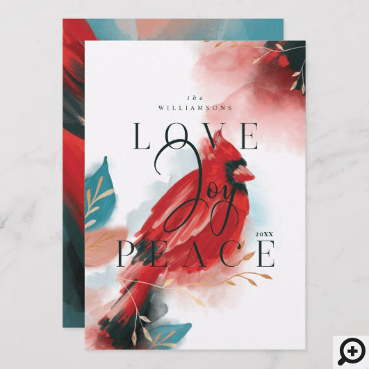 Love Joy & Peace Red Cardinal Watercolor White Holiday Card