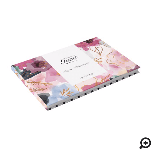 Modern Abstract Floral Watercolor Baby Girl Shower Guest Book