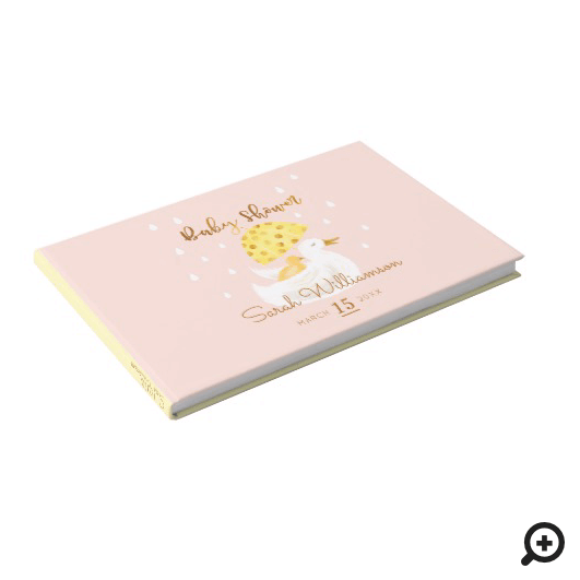 Mother & Baby Yellow Ducky Umbrella Blush Pink Guest Book
