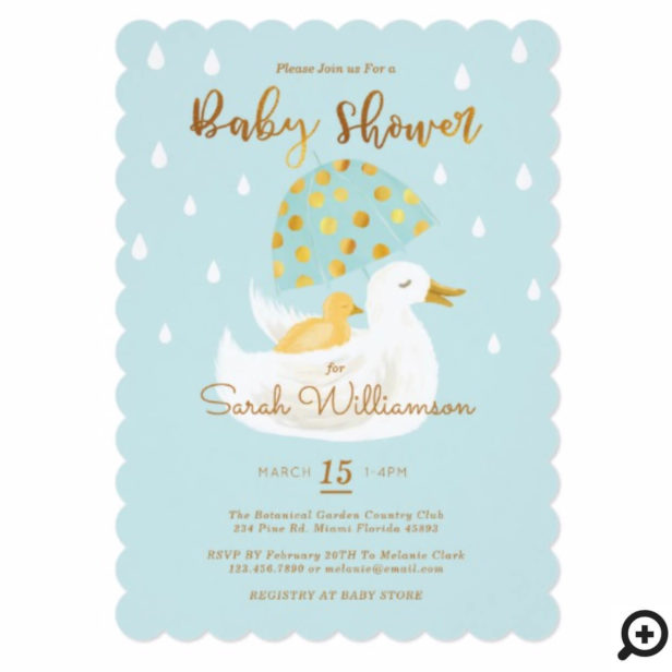 Mother & Baby Yellow Ducky Umbrella Light Blue Baby Shower Invitation