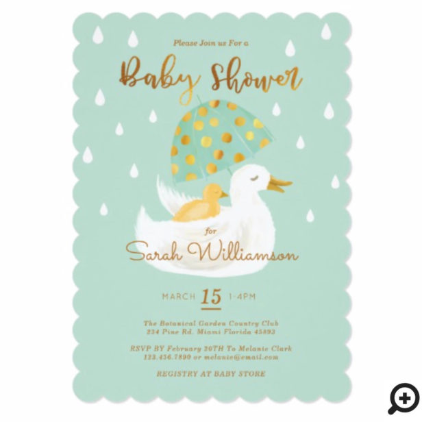 Mother & Baby Yellow Ducky Umbrella Mint Green Baby Shower Invitation