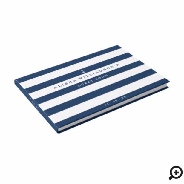 Nautical Navy & White Stripe Ocean Anchor Guest Book