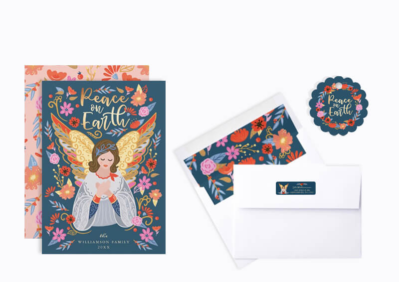 Peace on Earth Folk Art Angel Floral Christmas Holiday Collection