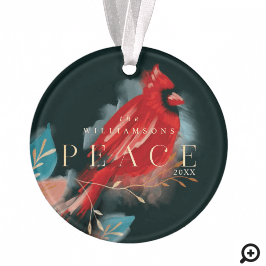 Peace Red Cardinal Watercolor Christmas Bird Ebony Ornament