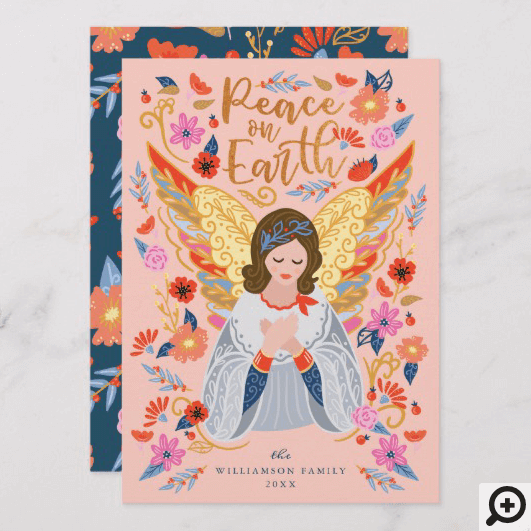 Peace on Earth Angel Floral Folk Art Blush Pink Holiday Card