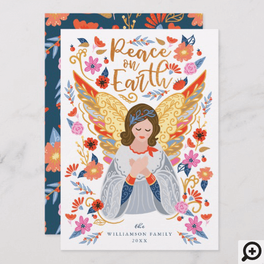 Peace on Earth Angel Floral Folk Art White Holiday Card