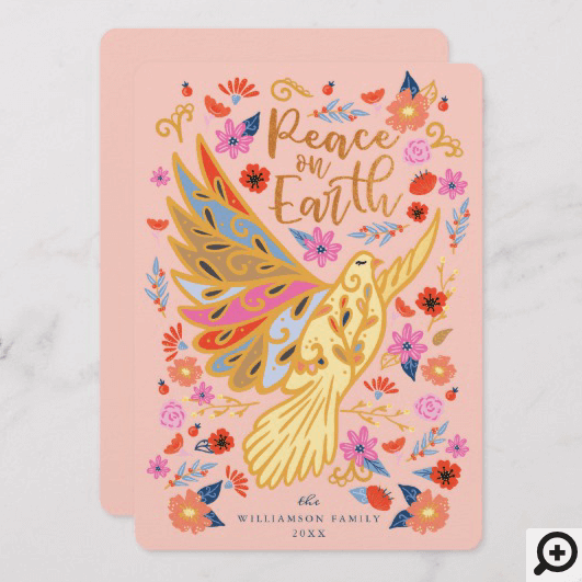 Peace on Earth Dove Floral Folk Art Blush Pink Holiday Card