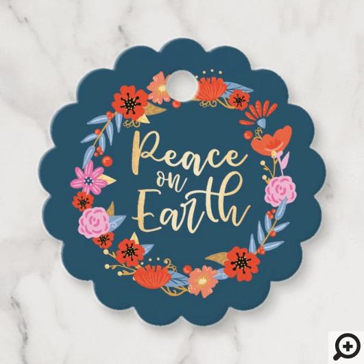 Peace on Earth Pretty Floral Folk Art Wreath Blue Favor Tags