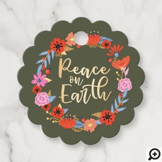 Peace on Earth Pretty Floral Folk Art Wreath Green Favor Tags