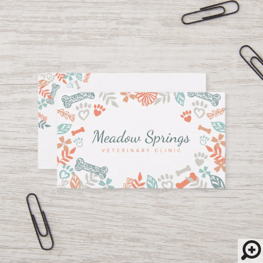 Peach Floral Foliage Pet Paw Print Pattern Business Card Moodthology Papery Instant download 5 svg combo bundle the paws patterns svg combo bundle is a set of. peach floral foliage pet paw print