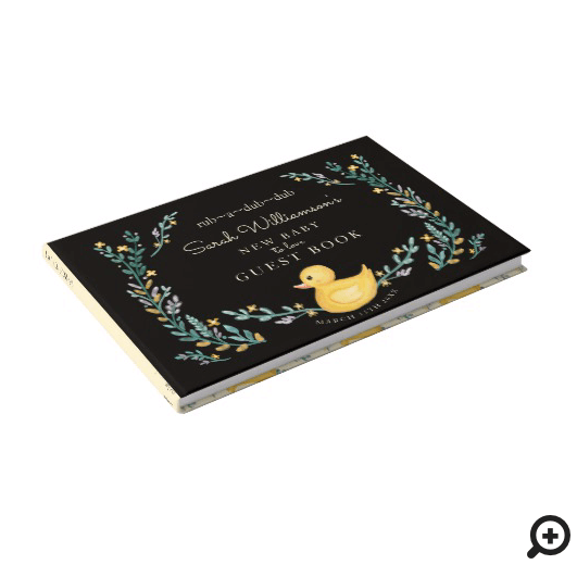 Rub-A-Dub-Dub Yellow Rubber Ducky Floral Garden Guest Book