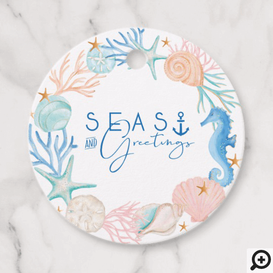 Seas & Greetings Ocean Watercolor Seashell Wreath Favor Tags