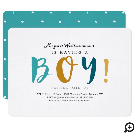 She's Having A Boy - Modern, Colourful & fun Invitation