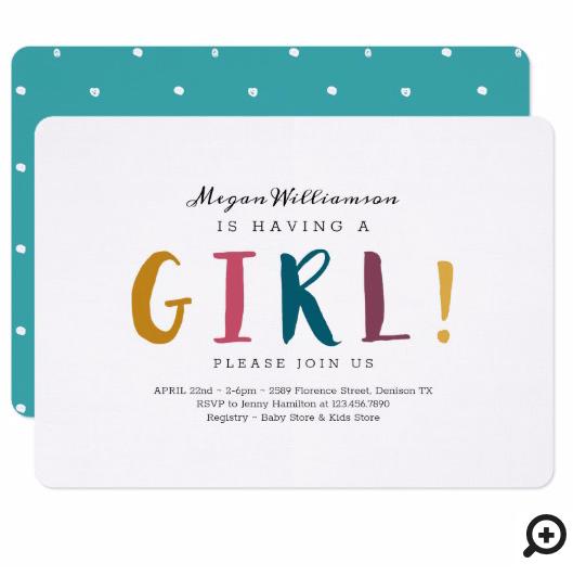 She's Having A Girl - Modern, Colourful & fun Invitation