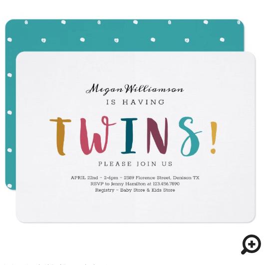 She's Having Twins - Modern, Colourful & fun Invitation