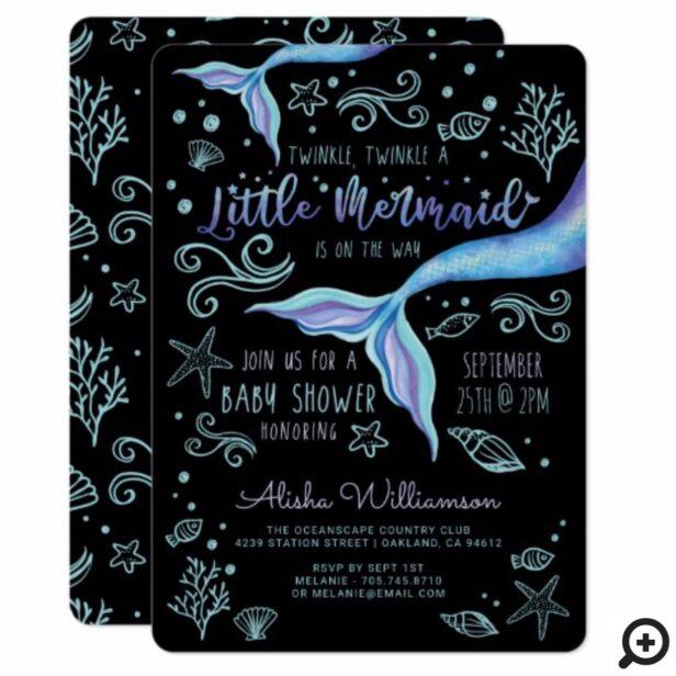 Twinkle Twinkle Iridescent Ocean Mermaid Black Invitation