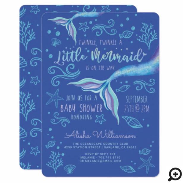Twinkle Twinkle Iridescent Ocean Mermaid Blue Invitation