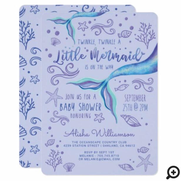 Twinkle Twinkle Iridescent Ocean Mermaid Purple Invitation