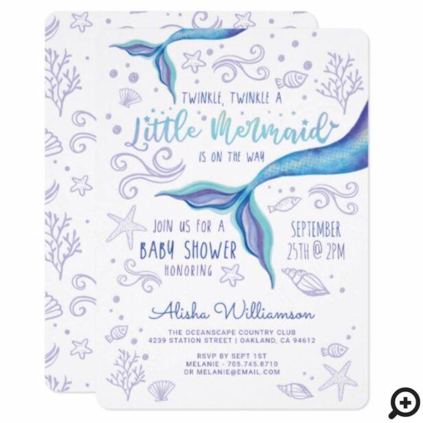 Twinkle Twinkle Iridescent Ocean Mermaid White Invitation