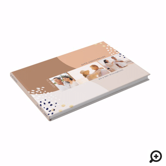 Abstract Three Photo Layout Beige Anniversary Guest Book