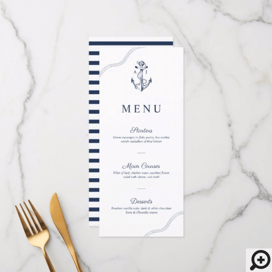 Anchor & Rope Nautical Monogram Navy & White Menu