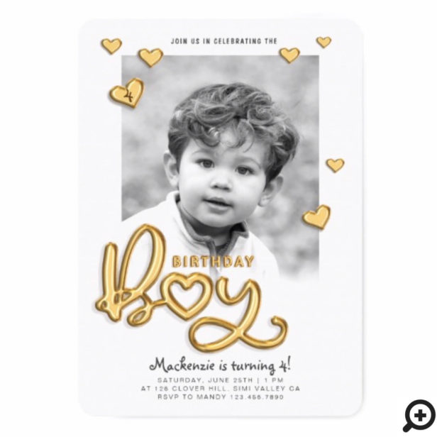 Birthday Boy Gold Foil Balloon Text Photo Invitation