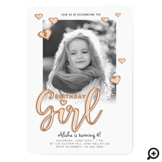 Birthday Girl Rose Gold Foil Balloon Text Photo Invitation