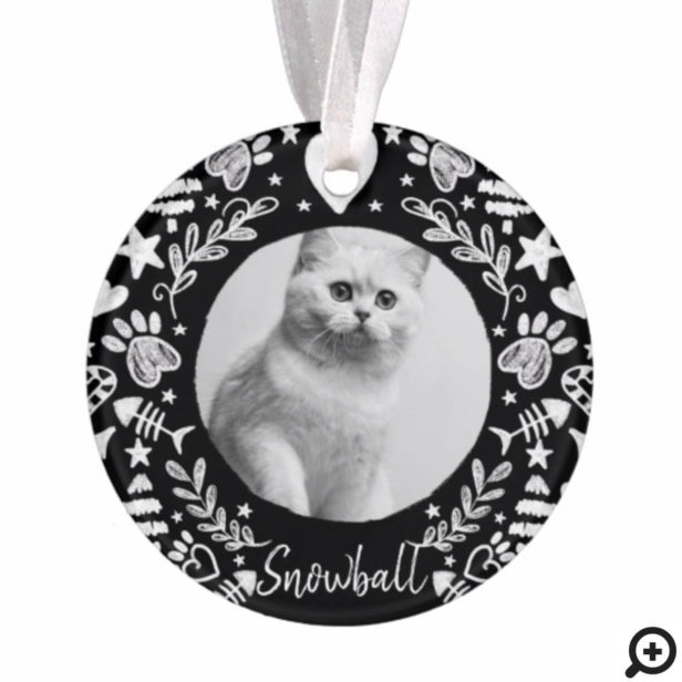 Black Chalkboard Art Frame Cat Memorial Keepsake Ornament