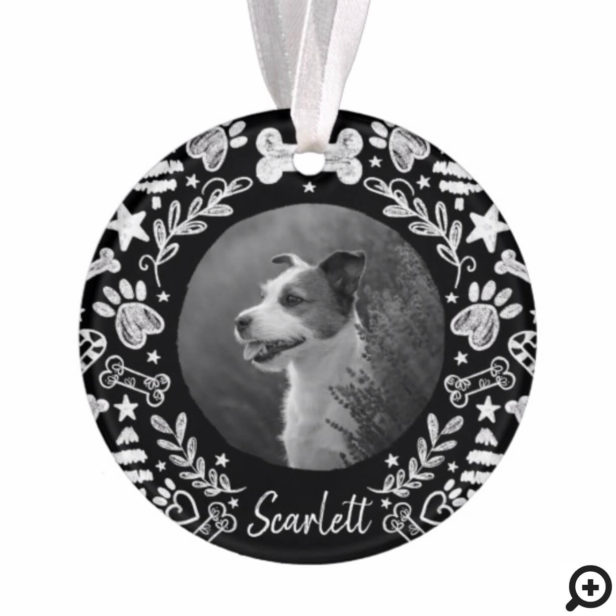 Black Chalkboard Art Frame Dog Memorial Keepsake Ornament