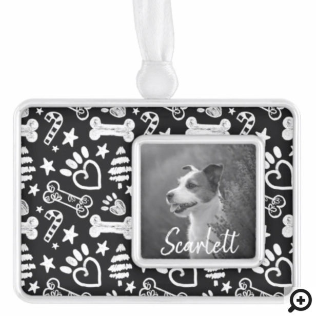 Black Chalkboard Festive Dog Bone & Paw Print Christmas Ornament