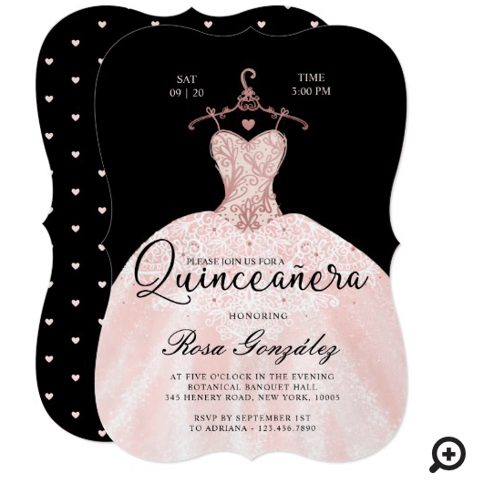 Blush Pink Quinceañera Roya Gown Black Invitation