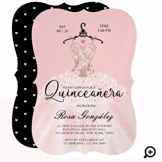 Blush Pink Quinceañera Roya Gown Blush Pink Invitation